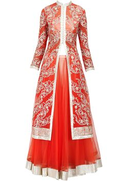 Orange sequins and gota embroidered lehenga set available only at Pernia's Pop-Up Shop.