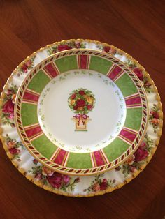 Royal Albert Old Country Roses Seasons Set of 2 of Colour Color Accent Plate