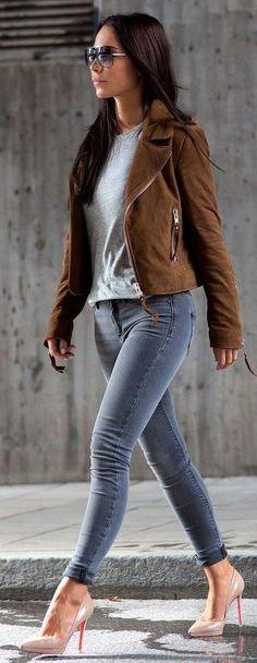#streetstyle #fashion |Camel Suede Jacket Light Grey Sweater Grey Jeans | Johanna Olsson