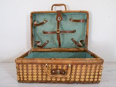 vintage wicker picnic case with green checked interior by epochco, $30.00