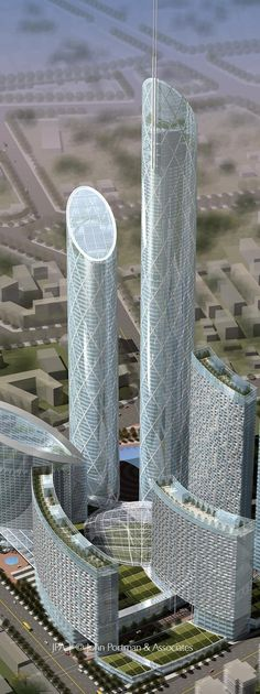 Eton Shenyang Center, Shenyang, China by John Portman Architects :: 97 floors, height 384m, proposal