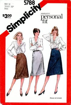 Vintage Sewing Pattern - 1982 Misses Proportioned Slim Skirts, Simplicity 5788 Size 16 Waist 30