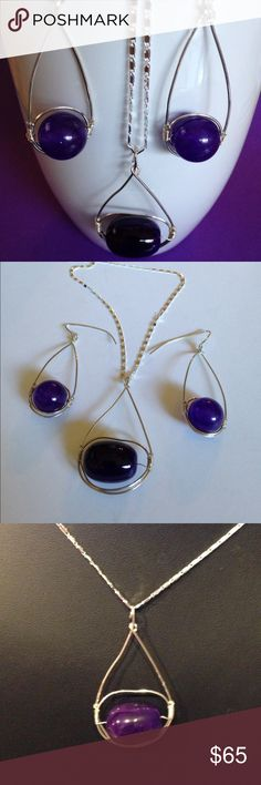 """Handmade Amethyst .925 Sterling Earrings A-2-26 Quality Amethyst Beads hang on .925 Sterling Silver handcrafted Wires.  The Dangle Earrings are 1-3/4"""" long and the pendant is 2-1/4"""" long and 1"""" wide.  The 22"""" chain is included.  Handmade and one of a kind. Offers accepted  Handmade by HM Simon Jewelry"""