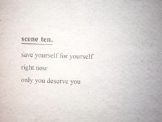 save yourself for yourself