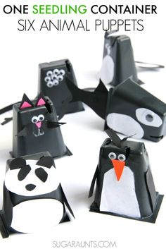 Use recycled seedling planter containers to make cute animal puppet crafts with kids!