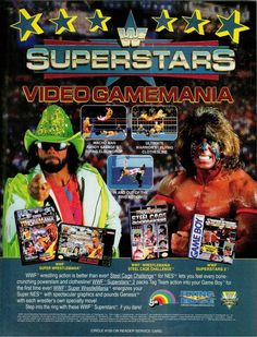 "Nintendo/Sega video game ad featuring WWF Superstars ""Macho Man"" Randy Savage & the Ultimate Warrior"