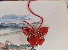 Marque page fil d'aluminium rouge et papillon rouge et blanc : Marque-pages par mariecrea