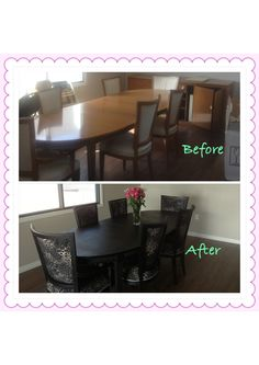 I inherited my grandpas dining room table that was definitely dated. I decided to do a make over on it to make it modern and classy. After the numerous weeks we spent stripping the varnish we stained it a really dark colour and recovered the chairs with a leopard print material. The whole makeover cost less then $300.00. DYI refinish dining room table