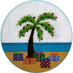 """NEEDLEPOINT HandPainted JP Needlepoint CHRISTMAS Palm Tree and Packages 4.5"""""""