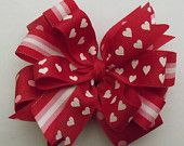 Reserved for Maggie  2 Valentine  Hair Bow - Beautiful  Layered Grosgrain Ribbon
