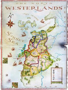 """lordbryndenrivers: """"The World of Ice and Fire Art - Westerlands """" Game Of Thrones Westeros, Westeros Map, Game Of Thrones Facts, Got Map, Imaginary Maps, Game Of Thones, Fantasy Map, High Fantasy, Fire Art"""