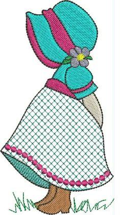 Sunbonnet Sue - what a lovely version :-) Mais Más Machine Embroidery Patterns, Applique Patterns, Applique Quilts, Applique Designs, Embroidery Applique, Paper Embroidery, Sunbonnet Sue, Girls Quilts, Baby Quilts