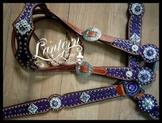 Custom tack set Purple croc Conchos w/ab squares and ab crystals, surrounded by purple velvet and tanzanite crystals. rim set swarovski crystals on breastcollar