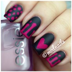 Black & pink nails by @modnails