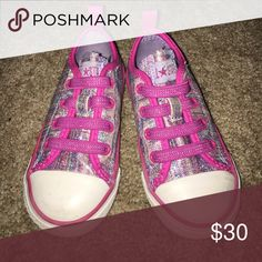 Baby Converse All-Star Chuck Taylor Shoes SO CUTE!!! Sparkly pink and purple striped glitter shoes with hardly any wear ✨ Has some very minor scuffs here and there on the white rubber parts, but the bottoms have absolutely no wear at all! Fabulous condition 👌🏼 Converse Shoes Sneakers