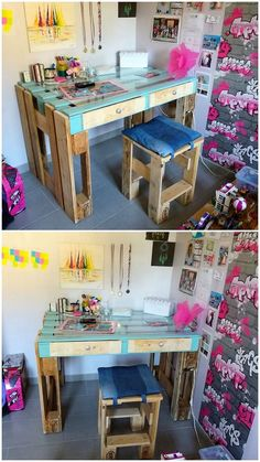 In terms of using the wood pallet recycling into something really inspiring and beneficial, we would make you highlight with the idea of stylish wood pallet creation of study table for you. You should add it in your house corner right now! Check out the image to get a perfect idea!