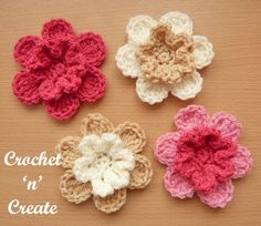 Layered Petals Flower Motif uk Free Crochet Pattern Crochet 'n' Create is part of Crochet flowers easy - A fun layered petals flower motif uk format you can make at any time throughout the year, It is a quick project you can use on most items Flower Motif, Crochet Puff Flower, Crochet Flower Patterns, Crochet Flowers, Crochet Appliques, Flower Applique, Unique Crochet, Beautiful Crochet, Diy Crochet