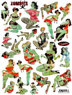 ZoMBIE PIN-UPS - Collage Sheet - Retro Undead Pin-Up Girls with Zombie Virus - Halloween, Zombie Apocalypse, Living Dead, Corpse Girls, PNG. $4.50, via Etsy.