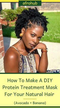 Try this awesome DIY protein hair treatment for black hair on your natural hair! All you will need is an avocado, a couple of bananas, and... #proteintreatmentfornaturalhair