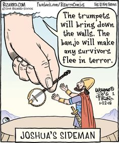 "The banjo is to make survivors flee. - ""Bizarro"" by Dan Piraro; Bizarro Comic, Cartoon Jokes, Funny Cartoons, Christian Jokes, Church Humor, Catholic Memes, Religious Humor, Religion, Comics Kingdom"