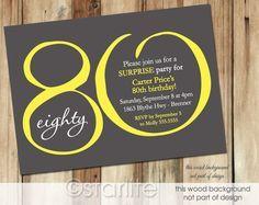 Diy print birthday invites adult 80th birthday invitation surprise 80th birthday invitation yellow dark gray modern number 80 filmwisefo