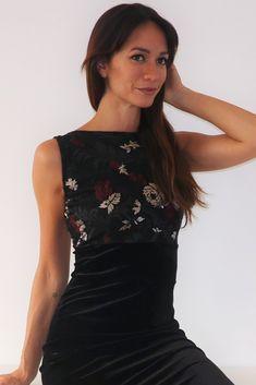 Embroidered tulle & soft velvet. More tango dresses on our online shop www.malvontango.com 🌹 Tango Dress, Cool Designs, Tulle, Feminine, Velvet, Elegant, Skirts, Clothes, Shopping