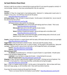 Sal suds cheat sheet!  Just got a bottle of sal suds, now what to do with it! HUzzah!