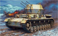 Flakpanzer IV 20mm 'Wirbelwind', based on the chassis of Panzer IV and equipped with a 20mm piece Quad Flakvierling. Enzo Maio. Box art Hasegawa.