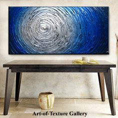 Abstract Heavy Texture Blue Silver White Water Carved Oil Painting by Je Hlobik