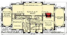 I like the bathroom and closet near the entrance ~ Plan W11603GC: Impressive English Tudor Floor 1