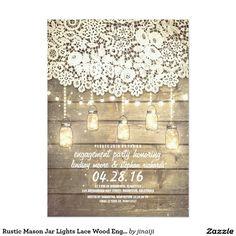 Rustic Mason Jar Lights Lace Wood Engagement Party