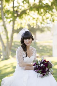 Jenny Yoo dress & shrug    Wedding PR, Wedding Public Relations, WEdding Marketing Expert, gold, purple, wine, wine country wedding ideas, vineyard wedding ideas, outdoor wedding ideas, sequins, burlap runner, purple flowers, Jenny Yoo, lace, feathers, cheese, wine, cupcakes, white and purple wedding cake, fishtail braid, wine barrels, wine barrel seating, Lo Boheme hair accessories