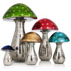 Glass Mushroom Decoration ($31) ❤ liked on Polyvore