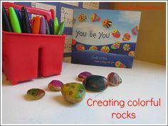 """Teach Preschool: """"We read the delightful little story You be You by Linda Kranz and enjoyed creating our own colorful rocks..."""""""