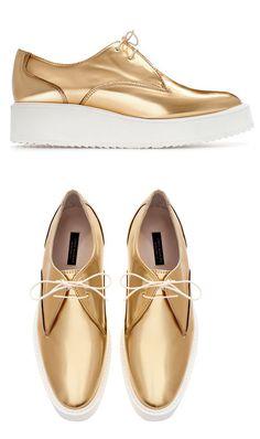 golden platform shoes
