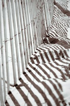 Abstract Beach Fence Photography Art Print, Black and White Cottage Beach Decor