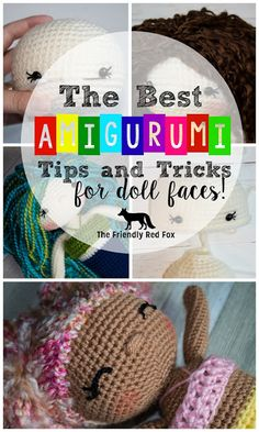 Best Amigurumi Tips and Tricks for Doll Faces! Learn how to do the eyes two ways, make a nose and add those pretty cheeks!