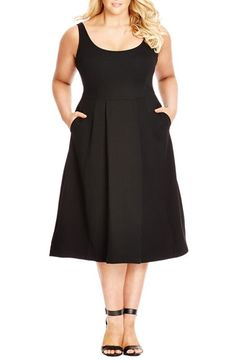 City Chic 'Classic Longline' Scoop Neck Midi Dress (Plus Size) available at #Nordstrom