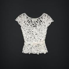 Gilly Hicks by Abercrombie Collaroy Floral Lace Blouse Top Ivory White M L | eBay