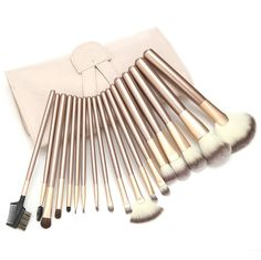 Silentrees Cosmetics Foundation Makeup Brushes Set | Horse Hair Professional Foundation makeup Brush Set with White Cream-colored Case Bag (18 Pieces) *** Check out this great image  : Makeup brushes