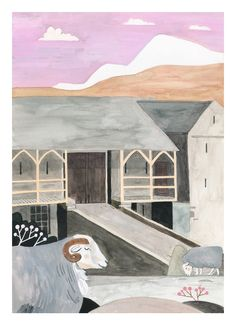 Gouache and ink painting of lake district bank barn with Cumbrian Herdwick sheep. Bank Barn, Ink Painting, Lake District, Gouache, Norway, Sheep, Illustrator, The Outsiders, Buildings