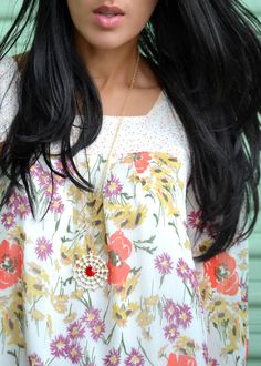 Spring look: Flower Power. Floral Mini Dress. Red and clear long necklace