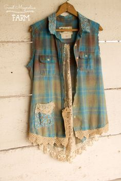 Simply Spring Farm Girl Fancies Upcycled Sleeveless Flannel Shirt tunic Jacket vest ~ Antique Lace trim and lace Back ~ Blue Plaid ~ Shabby Chic Clothing Boho top Now in our Etsy Shop