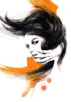 'Dark beauty 3' – Watercolour portrait by Jason Siew | Illustrious World | #Illustriousio
