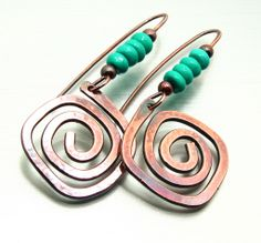 Copper swirls with turquoise earrings