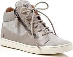 Giuseppe Zanotti Women's Shoes in Gray Color. Giuseppe Zanotti imbues laid-back high tops with the label's signature brand of luxe, adding tonal panels of soft suede and buttery leather alongside edgy zips.