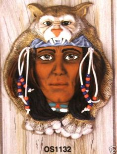 Ceramic-Bisque-Bobcat-Headdress-Wall-Mask-Ocean-State-1132-Ready-To-Paint