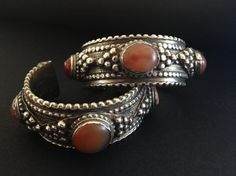 "Very wearable and attractive silver and carnelian bracelets from Yemen, posted by Jose M. Pery on ""ethnic jewels""."