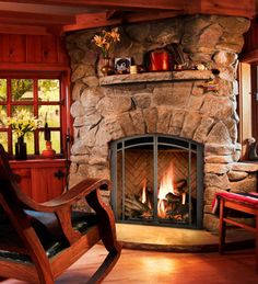 Simple Rustic Cabin decor - love the fireplace!