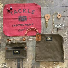 Drummers Field Supply kit – TACKLE Instrument Supply Co. Drum Key, Shop Rags, Hat Hooks, Drummers, Waxed Canvas, Hermes Birkin, Bag Accessories, Toms, Pouch